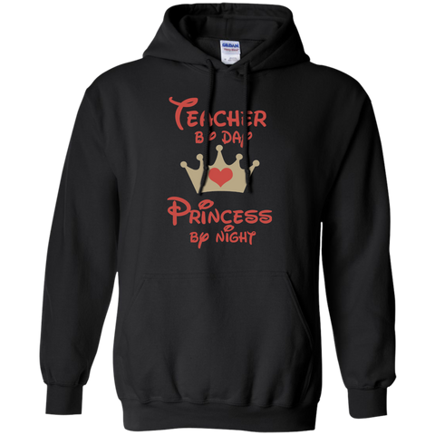 Teacher by Day Princess by Night Pullover Hoodie 8 oz - TeachersLoungeShop - 1