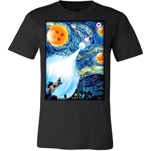 Super Saiyan - Goku Kamehameha vs Vegeta Galick gun Van Gogh style - Men Short Sleeve T Shirt - TL00822SS