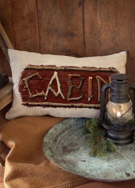 "Throw Pillow-12"" x 20""-Rustic-Cabin- Heritage Lace-Lodge Hollow"