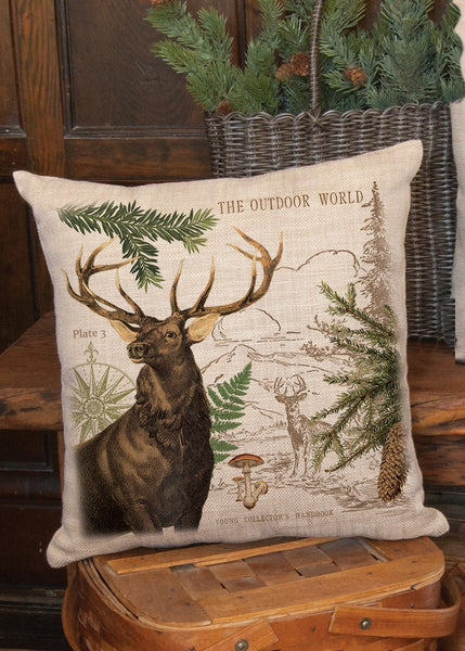 "Throw Pillow-18"" x 18""-Rustic-Elk-Heritage Lace-Lodge Hollow"