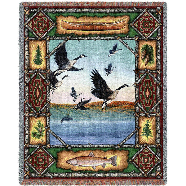 Throw Blanket-53 x 70-Matching-Throw Pillow-Rustic-Geese Lodge