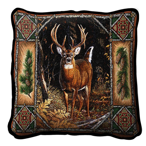 Throw Pillow-17 x 17-Rustic-Deer Lodge