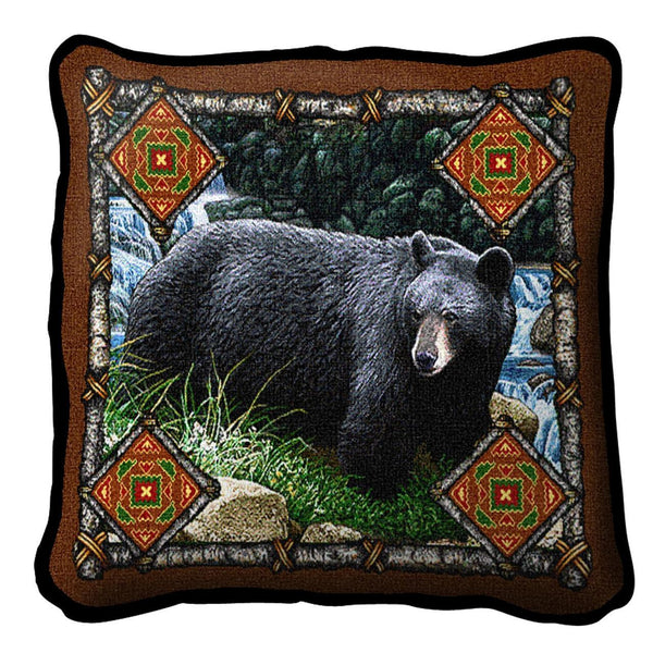 Throw Pillow-17 x 17-Rustic-Bear Lodge