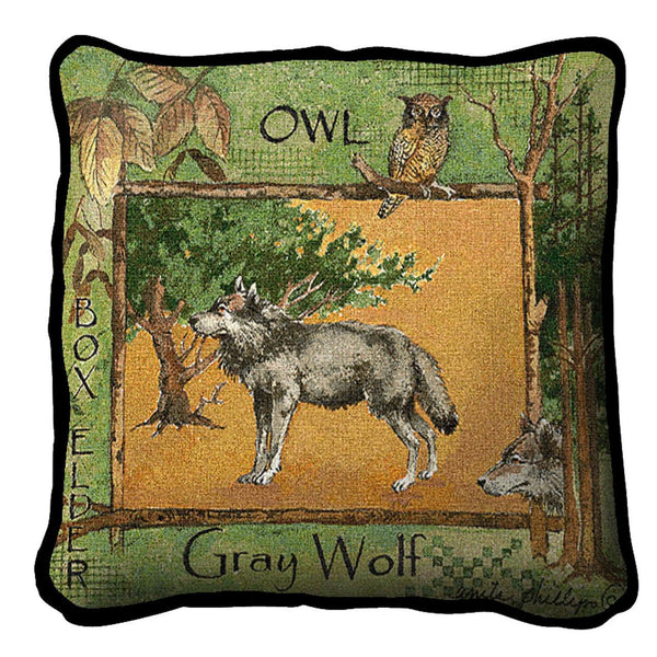 Throw Pillow-17 x 17-Rustic-Gray Wolf