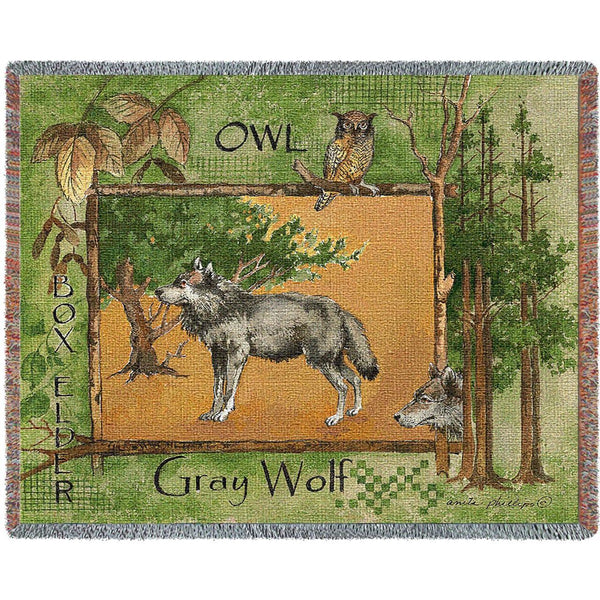 Throw Blanket-54 x 70-Matching-Throw Pillow-Rustic-Gray-Wolf