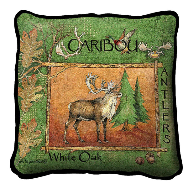 Throw Pillow-17 x 17-Rustic-Caribou