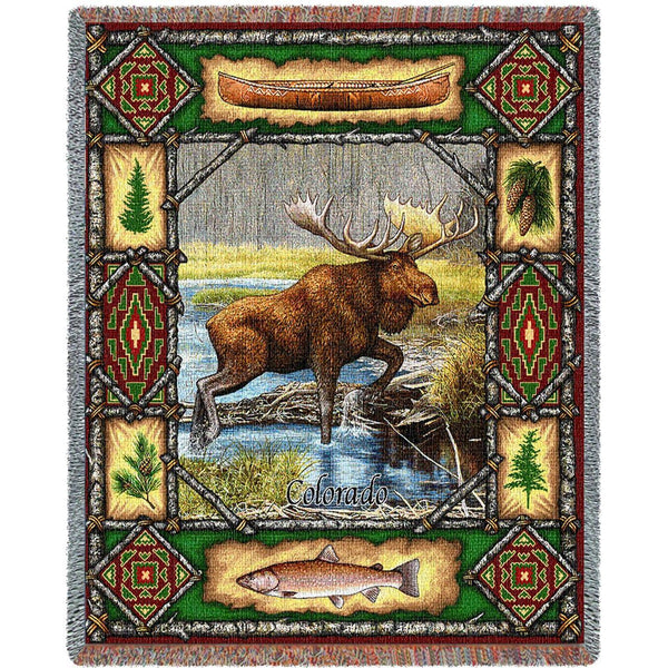 Throw Blanket-53 x 70-Matching-Throw Pillow-Rustic-Moose Lodge