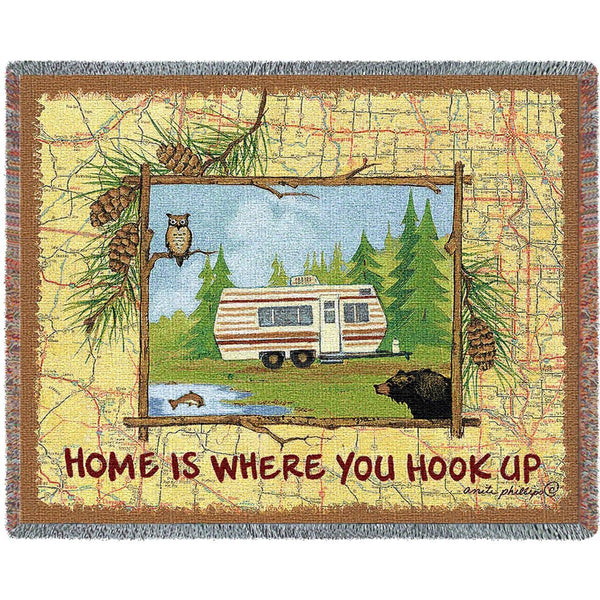 Throw Blanket-72 x 54-Rustic-Hook Up Camper