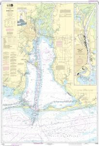 US NOAA Chart 11376 Mobile Bay Mobile Ship Channel-Northern End