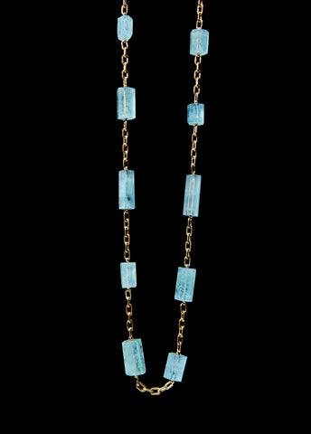 Aquamarine Crystal Beads Invisible Link Necklace