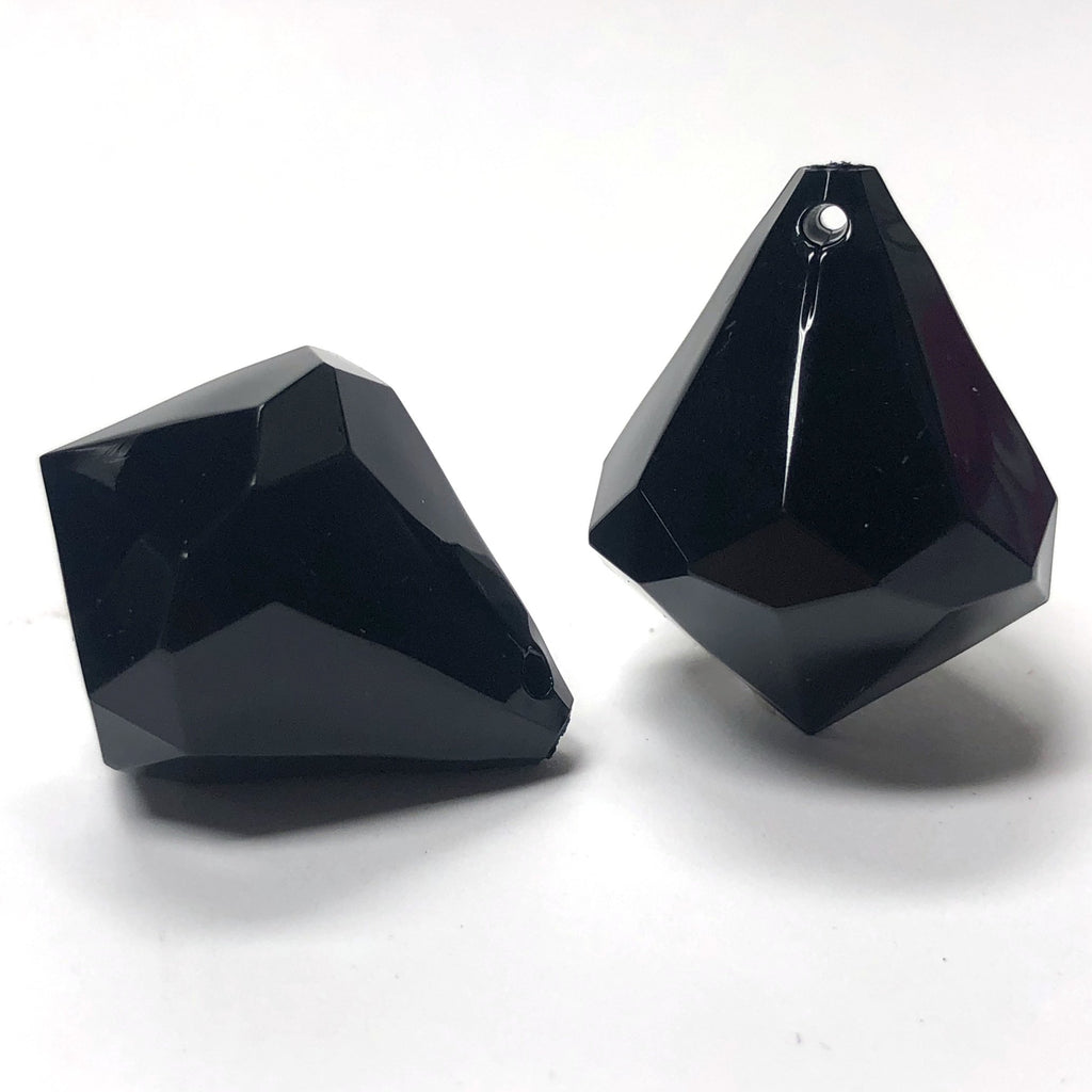 38X31MM Black Faceted Acrylic Drop (6 pieces)