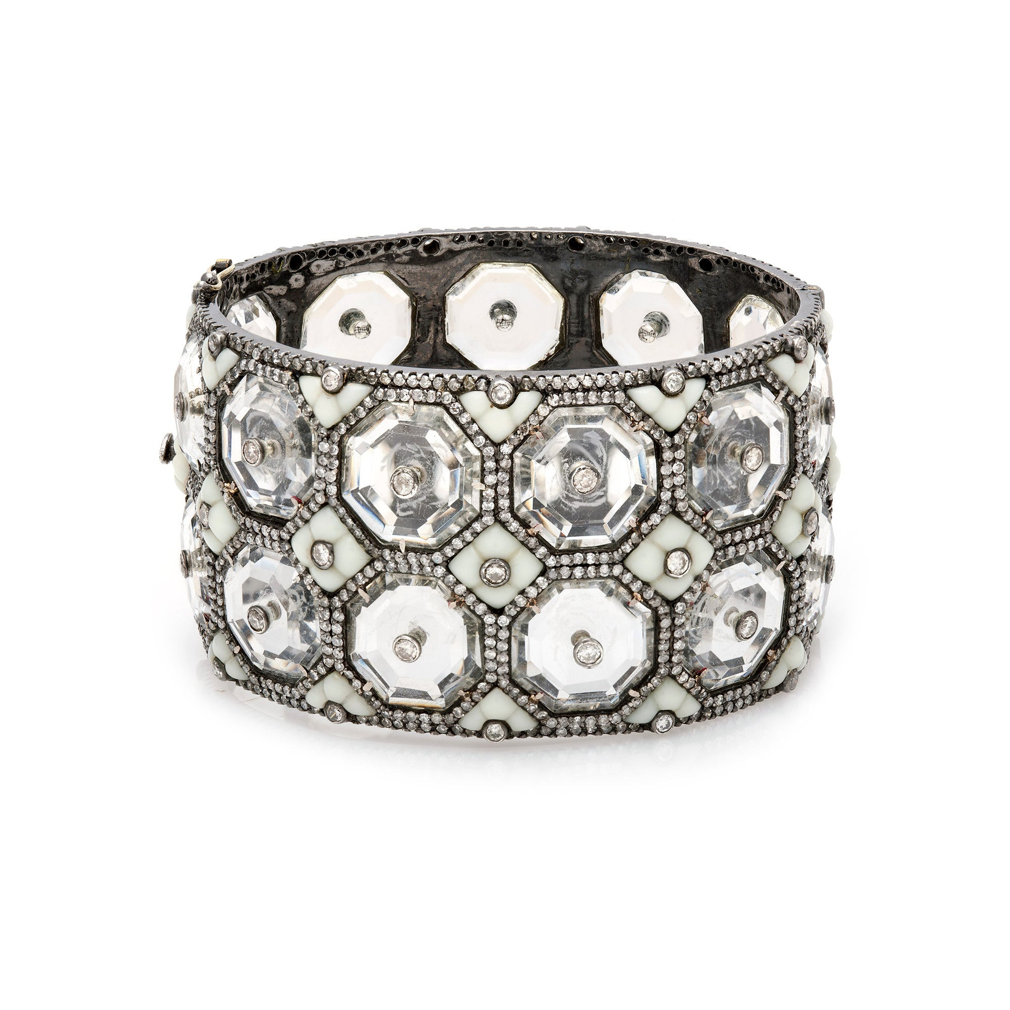 Crystal & Diamond Cuff with Vintage White Bakelite-50% OFF!