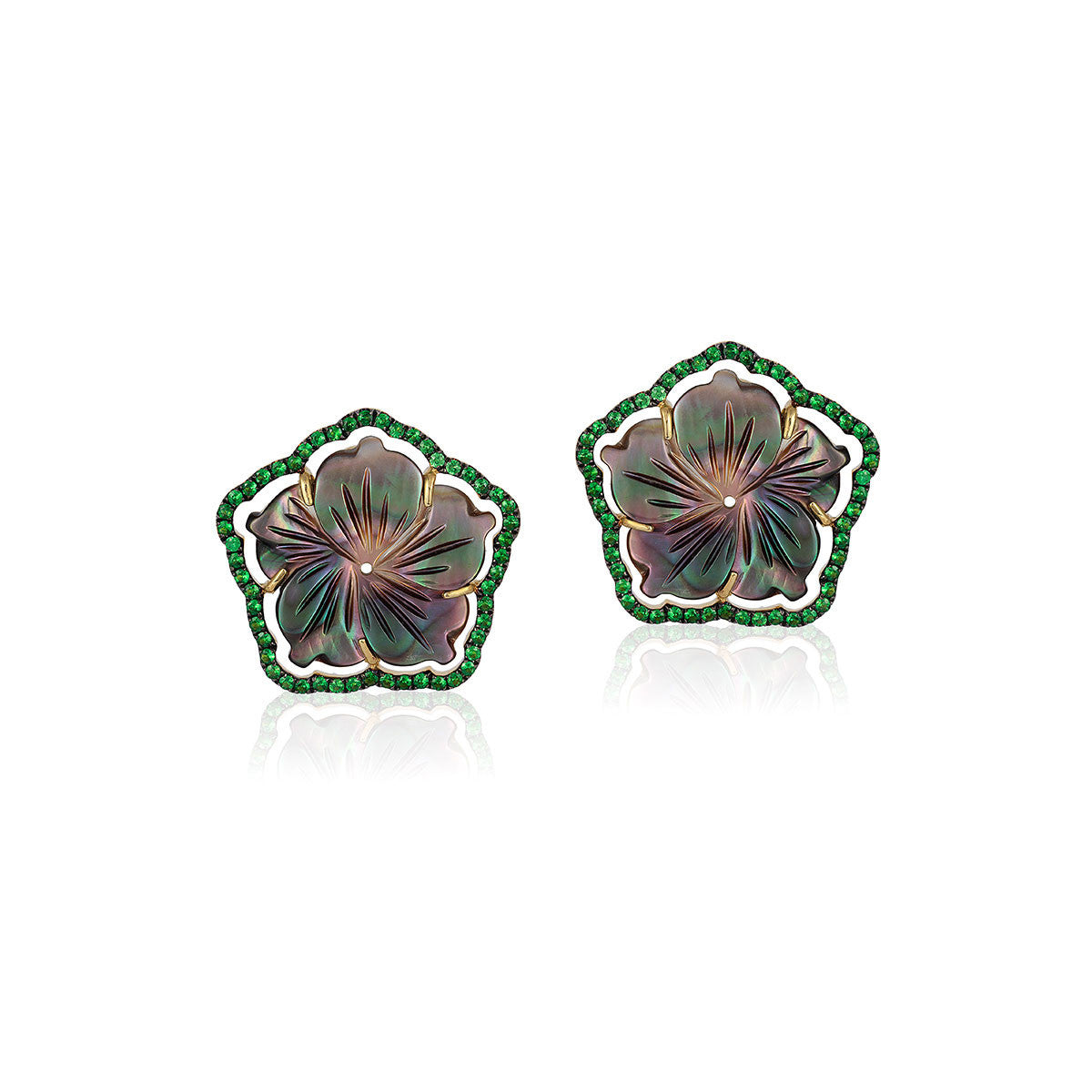 Mother of Pearl and Tsavorite Flower Clip Earrings