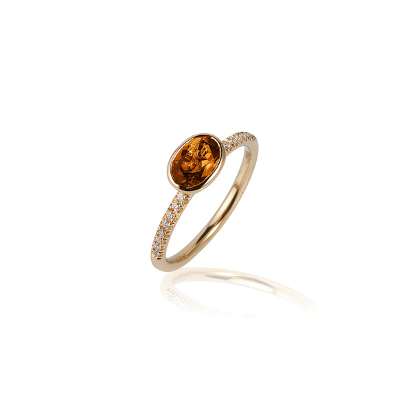 Gossip Round Citrine and Diamond Stackable Ring
