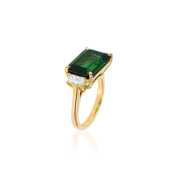 G-One Green Tourmaline and Diamond Ring