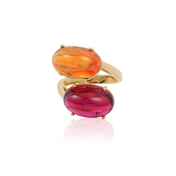 G-One Mandarin Garnet and Rubelite Cabochon Twin Ring