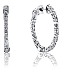 Round Brilliant Cut Diamond Hoops--50% OFF! ONLY 1 PAIR LEFT!