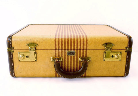 Vintage Striped Tweed Hard Sided / Hardboard Suitcase with Handle (c.1920s) - ThirdShiftVintage.com