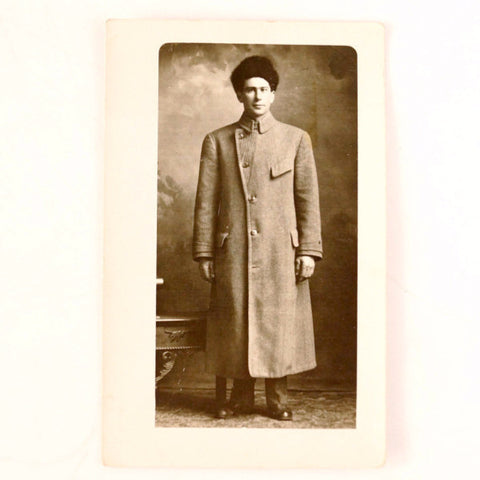 Antique Photo Post Card of Man in Long Coat with Fur Hat (c.1890s) - ThirdShiftVintage.com