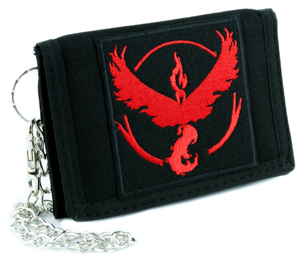 Team Valor Red Pokemon Go Tri-fold Wallet with Chain Alternative Clothing Gotta Catch em All