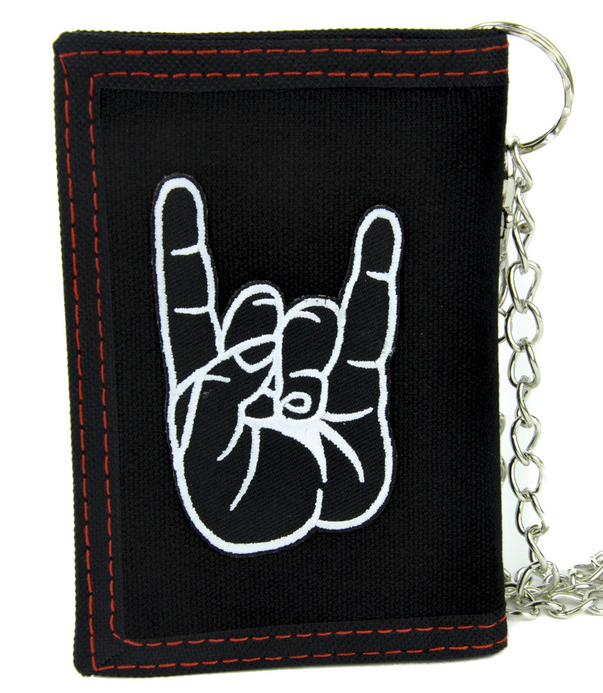 Horns Up Heavy Metal Sign Tri-fold Wallet with Chain Occult Clothing