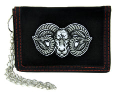 Evil Ram Horns Goat Head Tri-fold Wallet with Chain Alternative Clothing