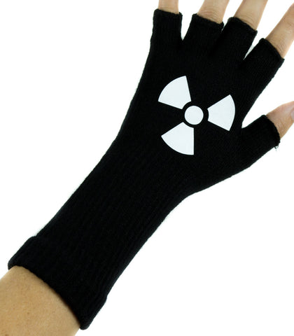Radioactive Sign Black Fingerless Gloves Arm Warmers Alternative Clothing Cosplay