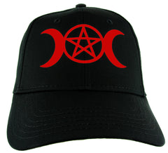 Red Crescent Moon Triple Goddess Symbol Hat Baseball Cap Alternative Clothing Snapback