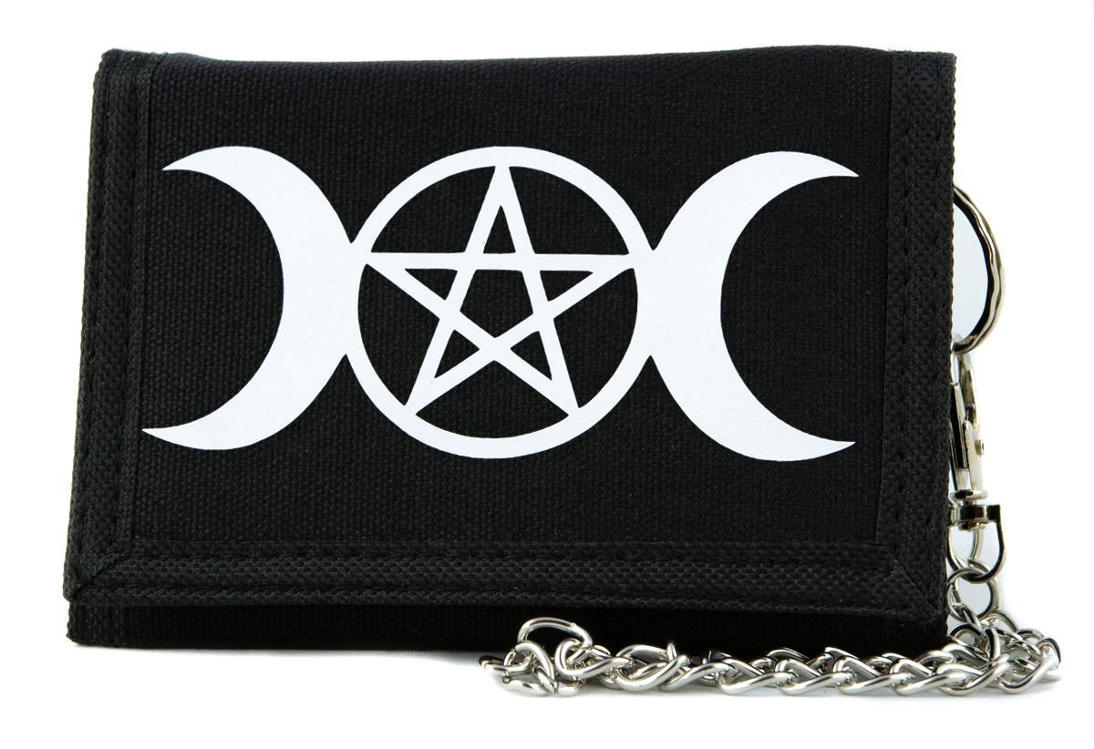 Crescent Moon Triple Goddess Pentagram Tri-fold Wallet Pagan Style Alternative Clothing