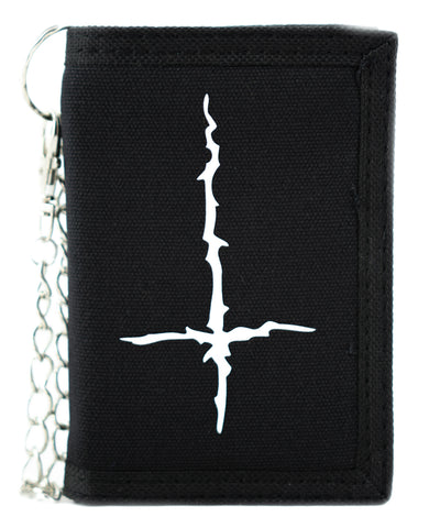 Black Metal Style Inverted Cross Tri-fold Wallet Unholy Evil Alternative Clothing