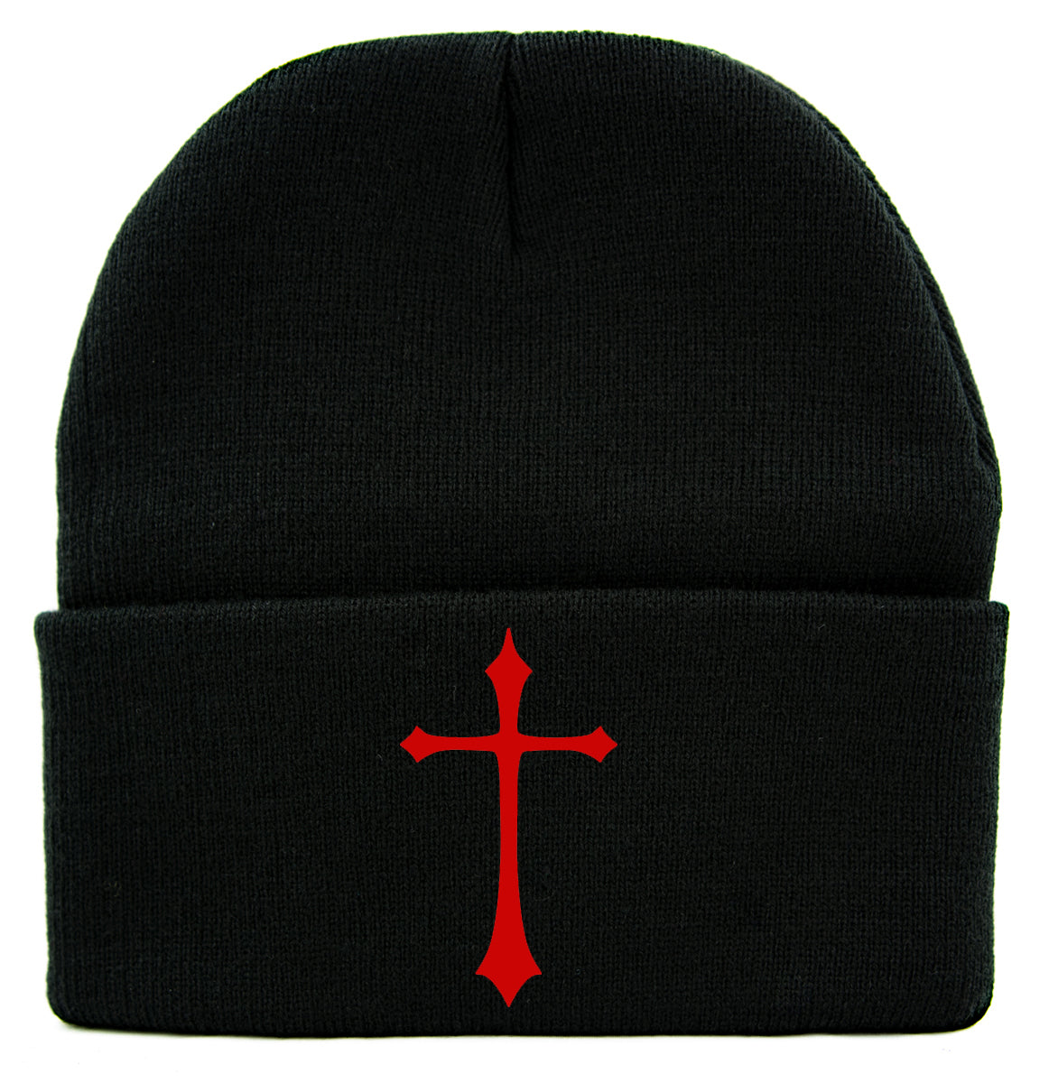 Red Medieval Holy Gothic Cross Cuff Beanie Knit Cap Occult Alternative Clothing