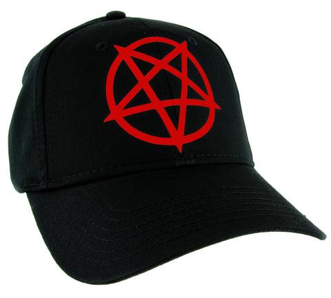 Red Unholy Inverted Pentagram Symbol Hat Baseball Cap Occult Alternative Clothing Snapback