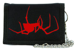 Red Spooky Crawling Black Widow Spider Tri-fold Wallet Gothic Style Alternative Clothing