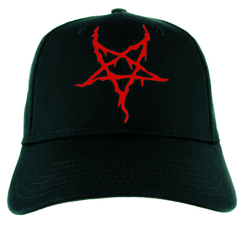 Red Black Metal Style Inverted Pentagram Hat Baseball Cap Occult Alternative Clothing Snapback