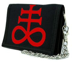Red Brimestone Leviathan Cross Alchemy Symbol Tri-fold Wallet Satanic Alternative Clothing