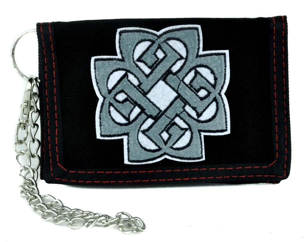 Eternal Celtic Knot Tri-fold Wallet with Chain Alternative Clothing