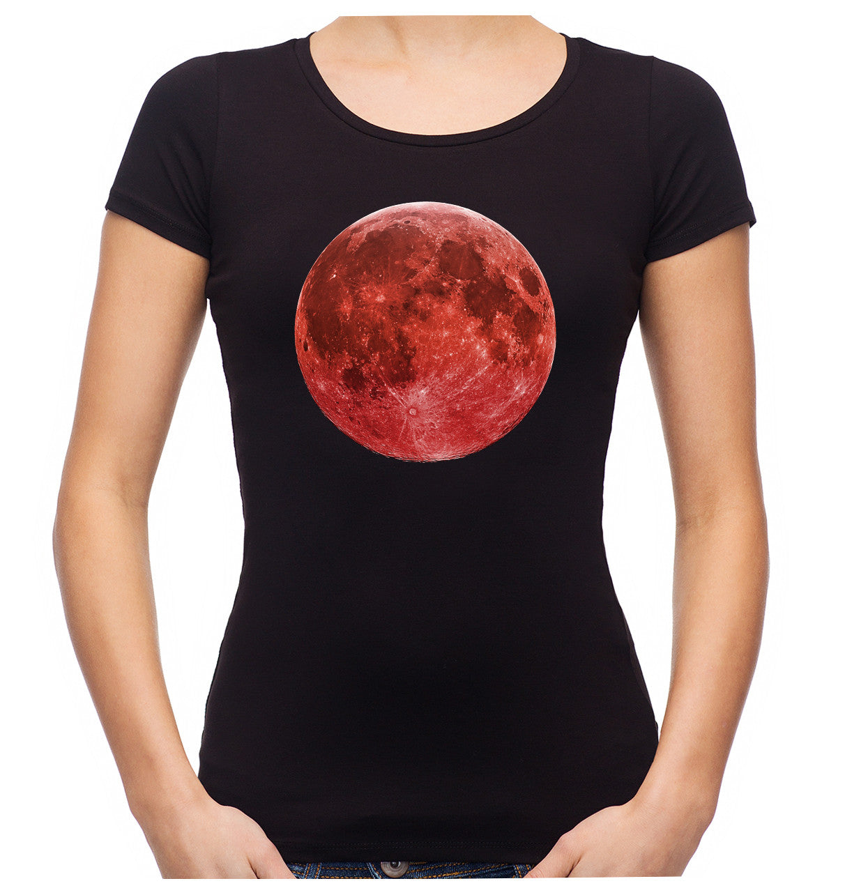 Full Red Blood Moon Women's Babydoll Shirt Alternative Occult Clothing