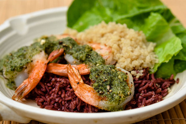 Grilled Shrimp in Pesto Sauce with Quinoa Rice