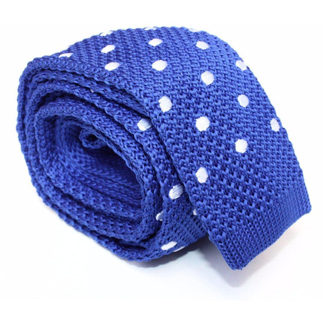 ROYAL BLUE WITH WHITE POLKA KNITTED TIE - Elnukstyles | unique affordable men's Bow Ties, Knitted Neckties, Flower Lapel Pins, Pocket Squares, Tie Clips, Cufflinks, Brooch, Toronto