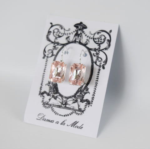 Blush Pink Crystal Earrings - Medium Octagon
