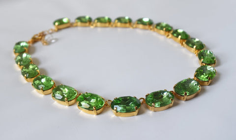Large Oval Peridot Crystal Rivere Necklace