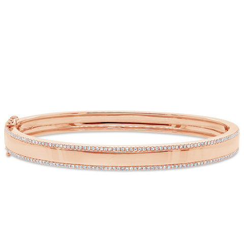 Diamond Lined Gold Bangle
