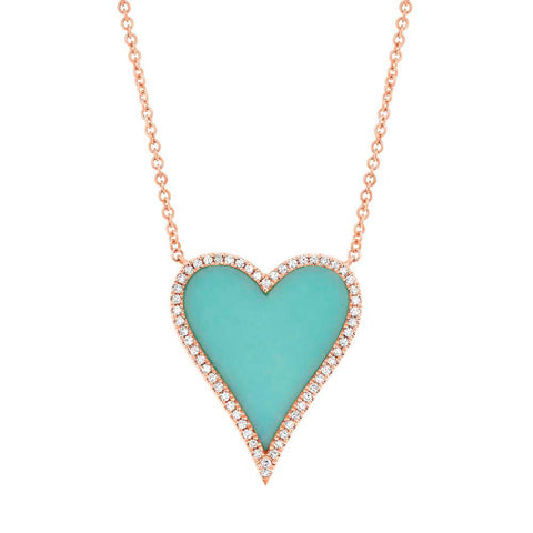 Turquiose and Diamond Heart Necklace