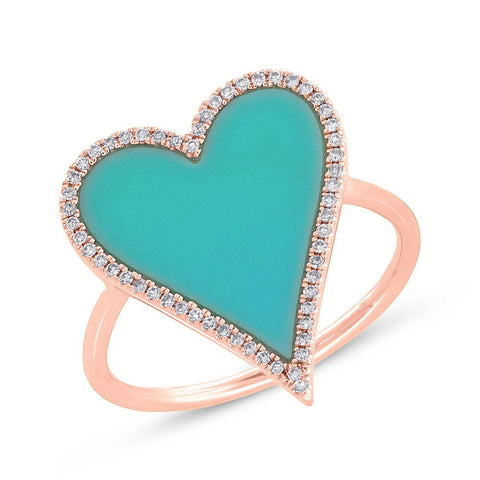 Turquoise and Diamond Heart Ring