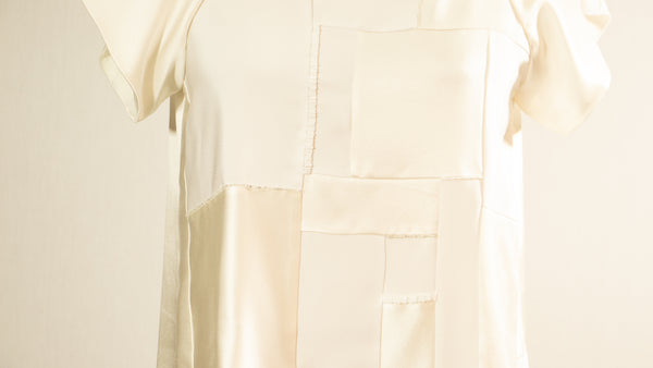 White Patchwork Tunic with Beads