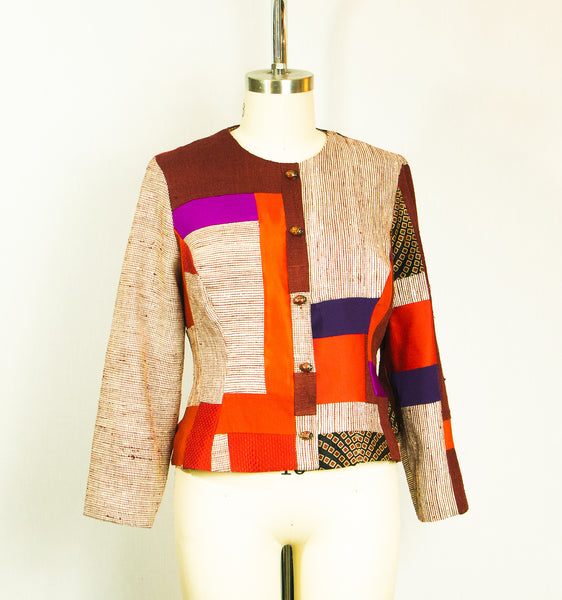 Large Patchwork Fitted  Red Jacket with Mixed Fabrics