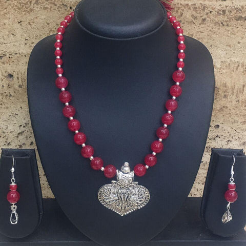 Red Color Alloy Necklace - 1405S20-r