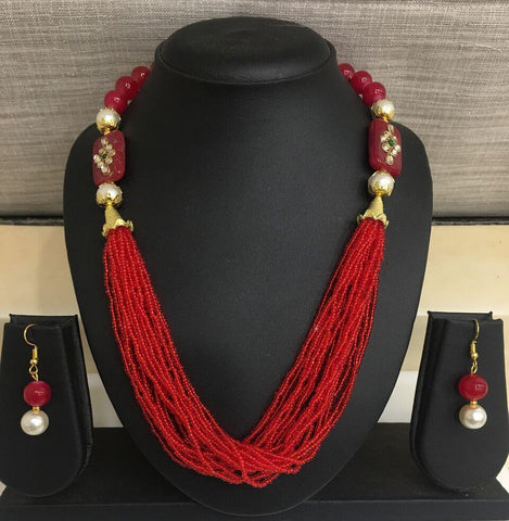 Red Color Alloy Necklace - 14NS59-r