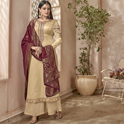 Gold  Color Georgette Satin Semi-Stitched Salwar  - 1510-Silk2-6501
