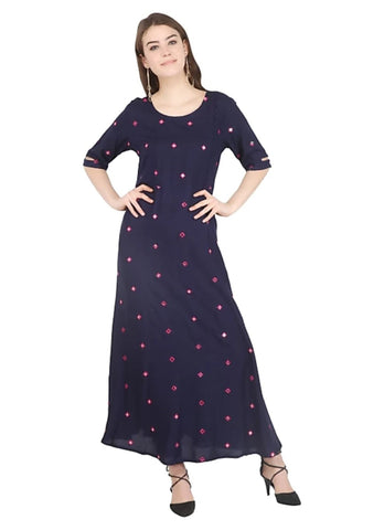 Navy Blue color Rayon Stitched Gown - 1532546XFDR